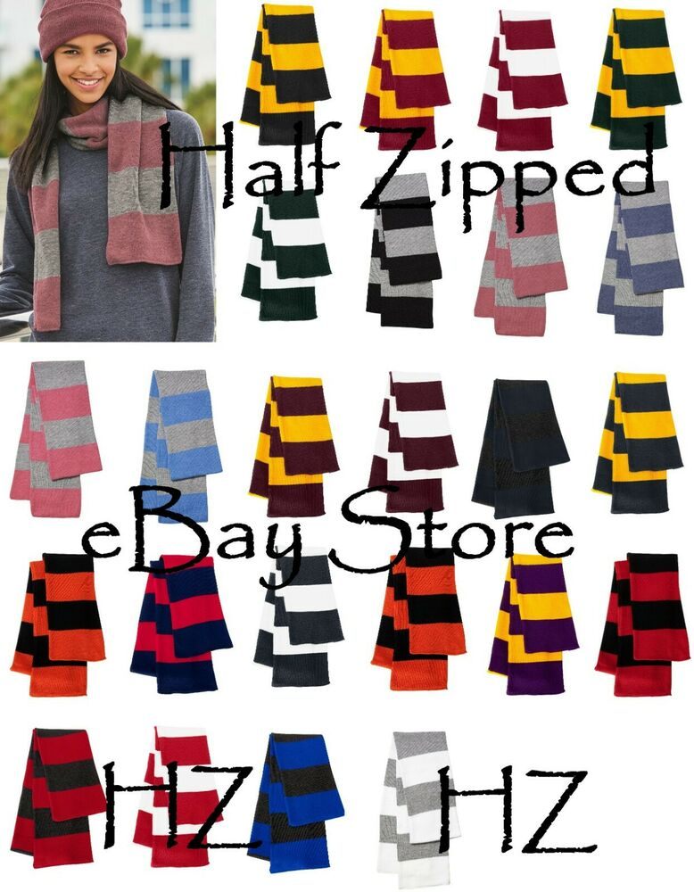 Team Colors: Sportsman Rugby Striped Knit Scarf College Football Team