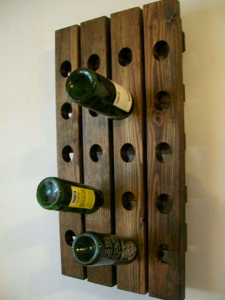 Rustic Wine Rack Riddling Wood Handmade Wall Hanging EBay