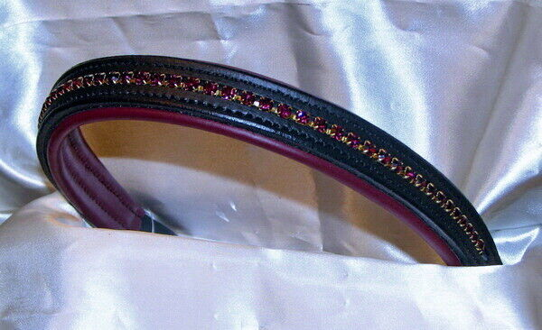 0ce0338b9 Details about FSS Crystal Bling DARK BURGUNDY WINE Padded Browband Custom  Made Sparkle NEW