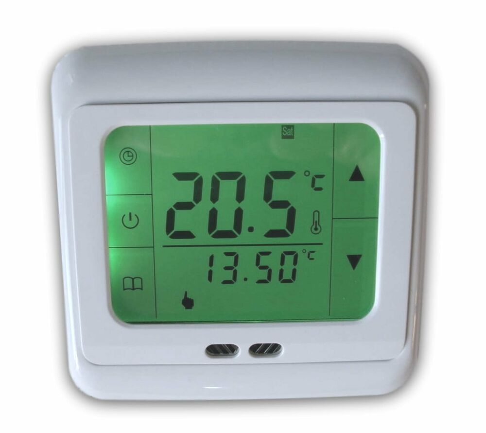 digital thermostat touchscreen raumthermostat fu bodenheizung 742 lcd gr n ebay. Black Bedroom Furniture Sets. Home Design Ideas