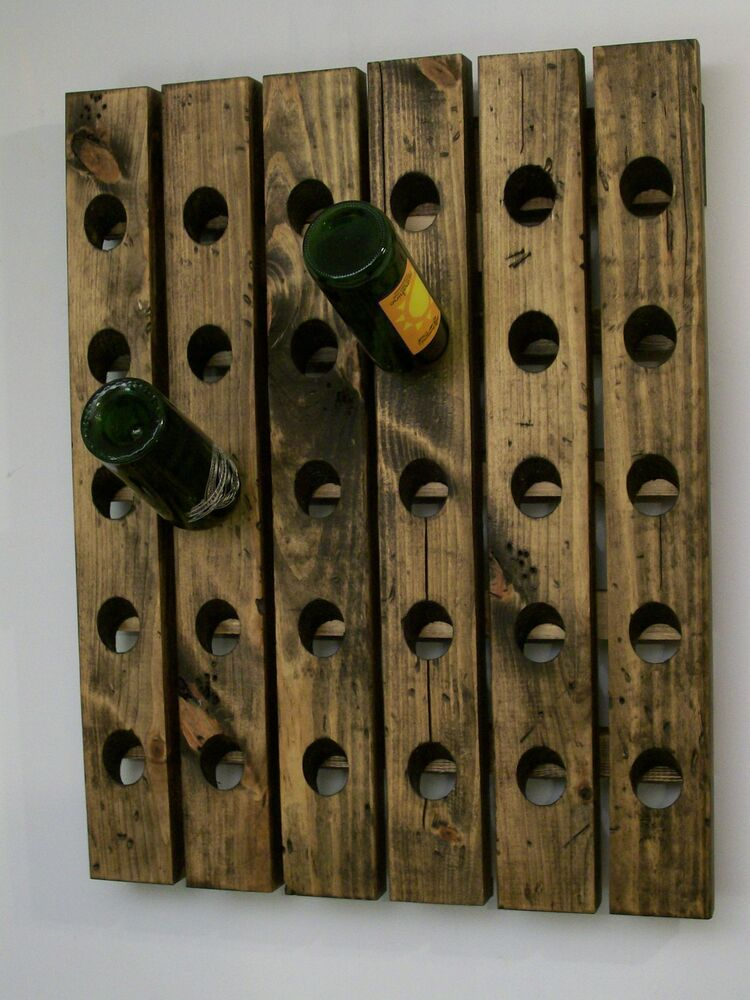 Wall wine riddling rack distressed wood handmade wall Hanging wooden wine rack