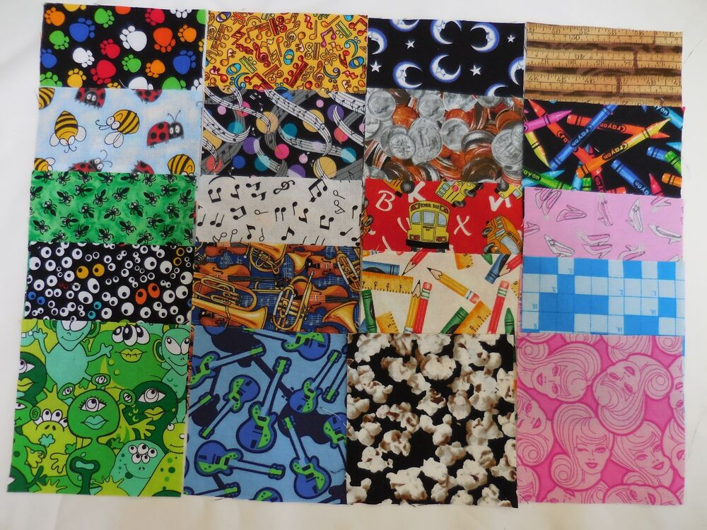 100 4 i spy novelty kids fabric quilting squares no dups for Kids novelty fabric