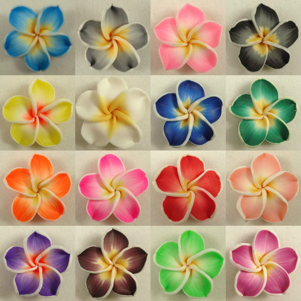 50 Pcs Pick Color Polymer Clay Fimo Plumeria Flower Beads