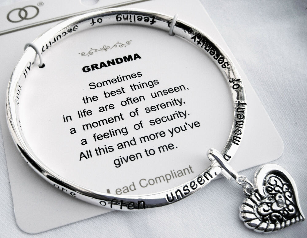 Grandma Silvertone Bangle Bracelet Heart Charm Inspirational Grandmother Poem Ebay