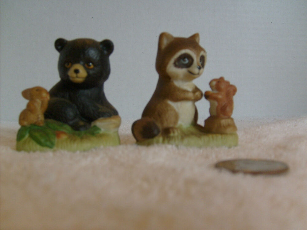 Home interior racoon and bear figurines cute 1418 ebay Home interiors figurines homco