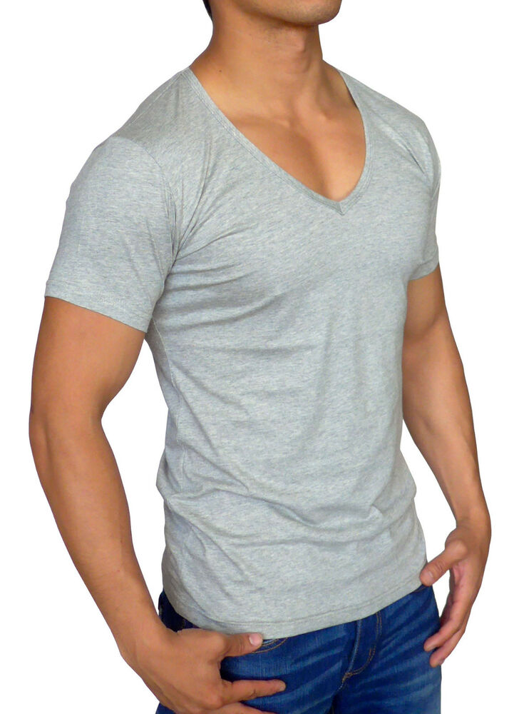 New Mens Plain Grey Deep V Neck T Shirt Slim Fit Casual S