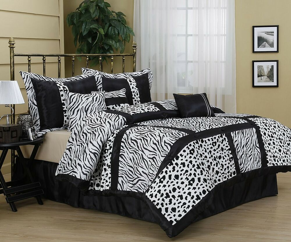 amazon animal print 7 piece comforter set bed in bag brand new king queen ebay. Black Bedroom Furniture Sets. Home Design Ideas