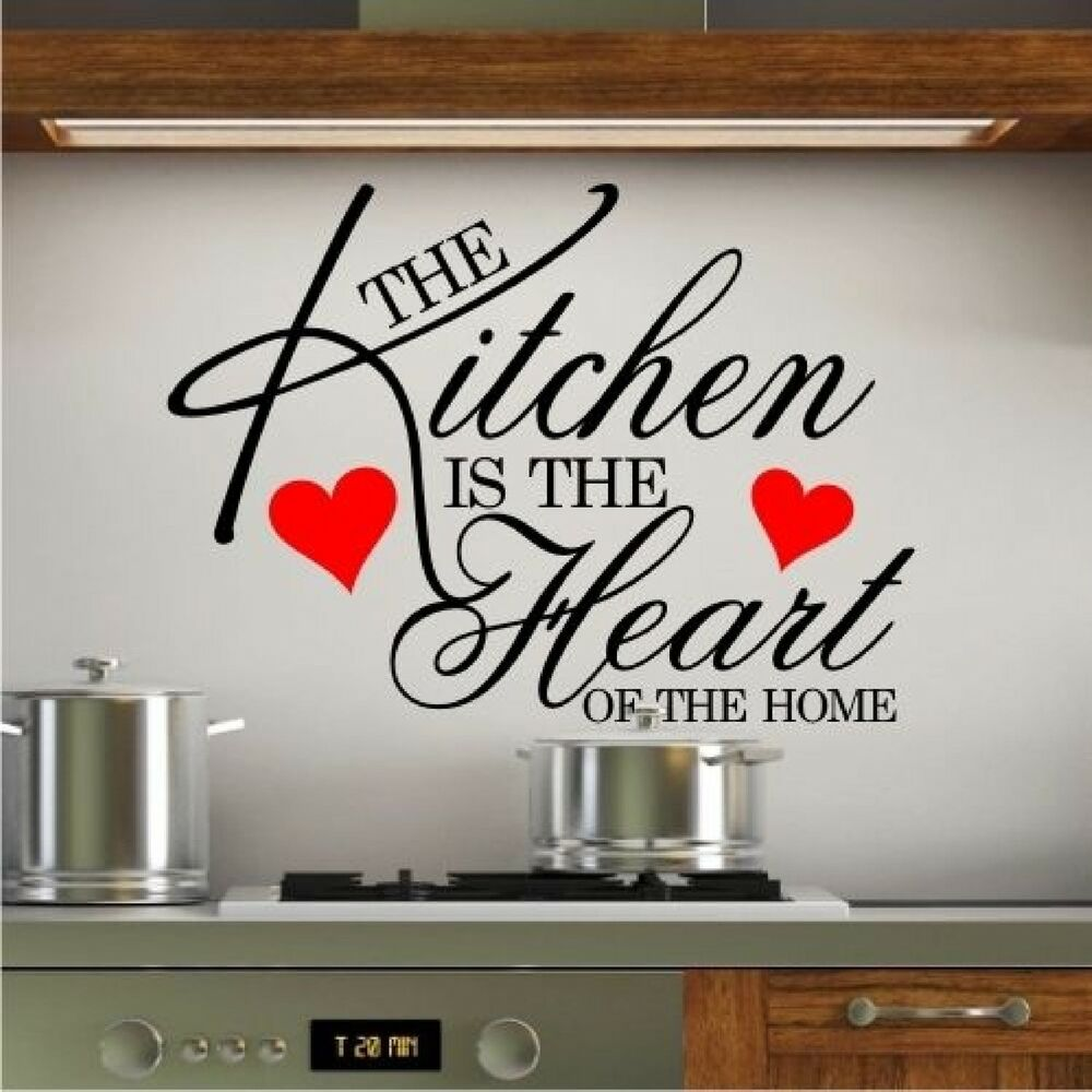 Wall art sticker quote kitchen heart home dining room for Large kitchen wall decor