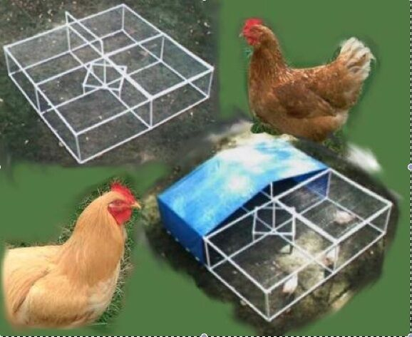 Pvc chicken coop run poultry pen portable game plans ebay for Pvc chicken house