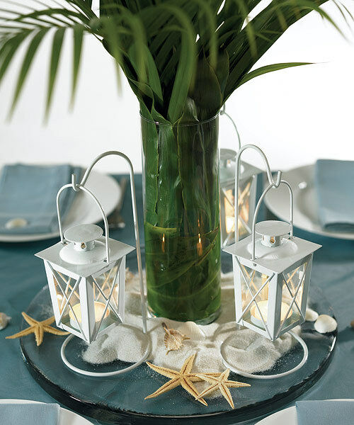 Beach nautical wedding reception decoration centerpiece