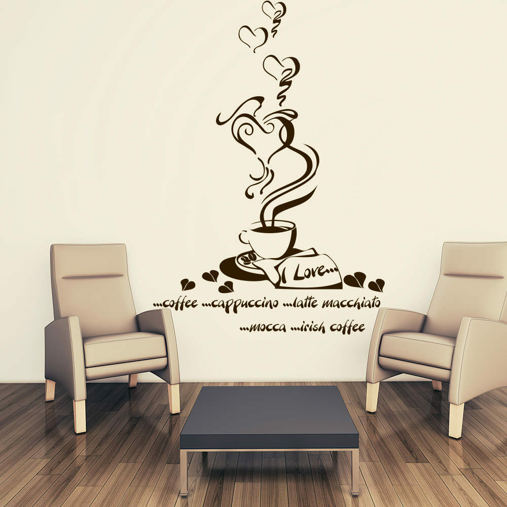 wandtattoo kaffee tasse coffee k che kitchen herz wandaufkleber wandsticker 220 ebay. Black Bedroom Furniture Sets. Home Design Ideas