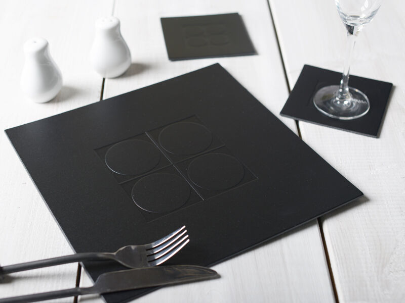set of 6 black emboss square leatherboard placemats table mats 6 coasters 12pc 5050993072688. Black Bedroom Furniture Sets. Home Design Ideas