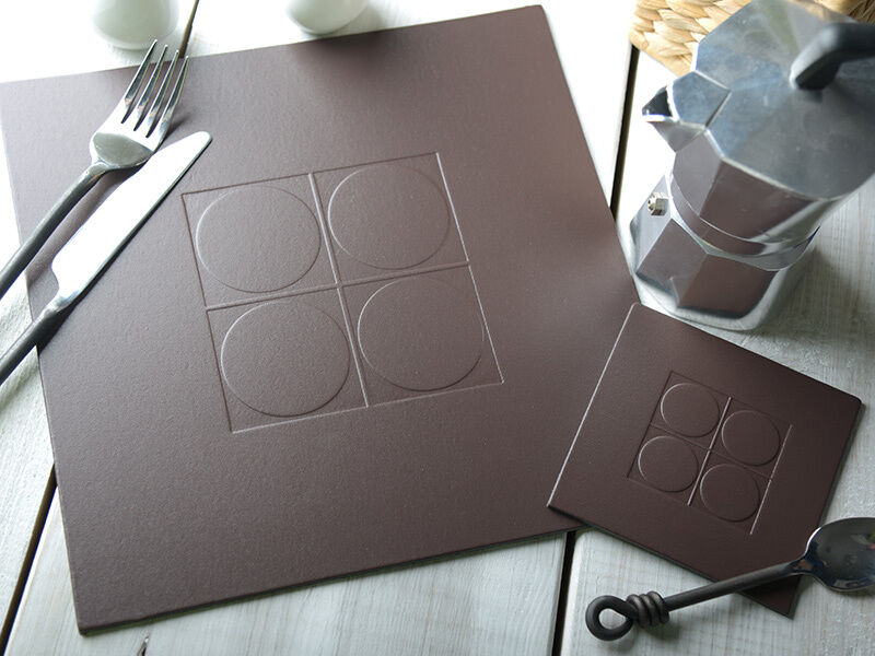 set of 4 brown embossed square leatherboard placemats table mats 4 coasters ebay. Black Bedroom Furniture Sets. Home Design Ideas