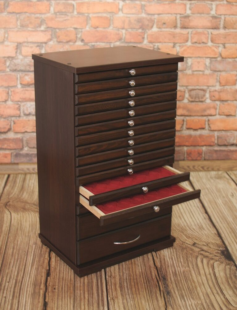 Coin tray collection cabinet for 14 2 trays collector for Furniture board