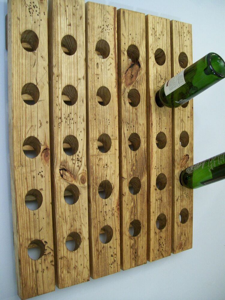 Riddling Rack Winerack Distressed Wood Wall Hanging Ebay
