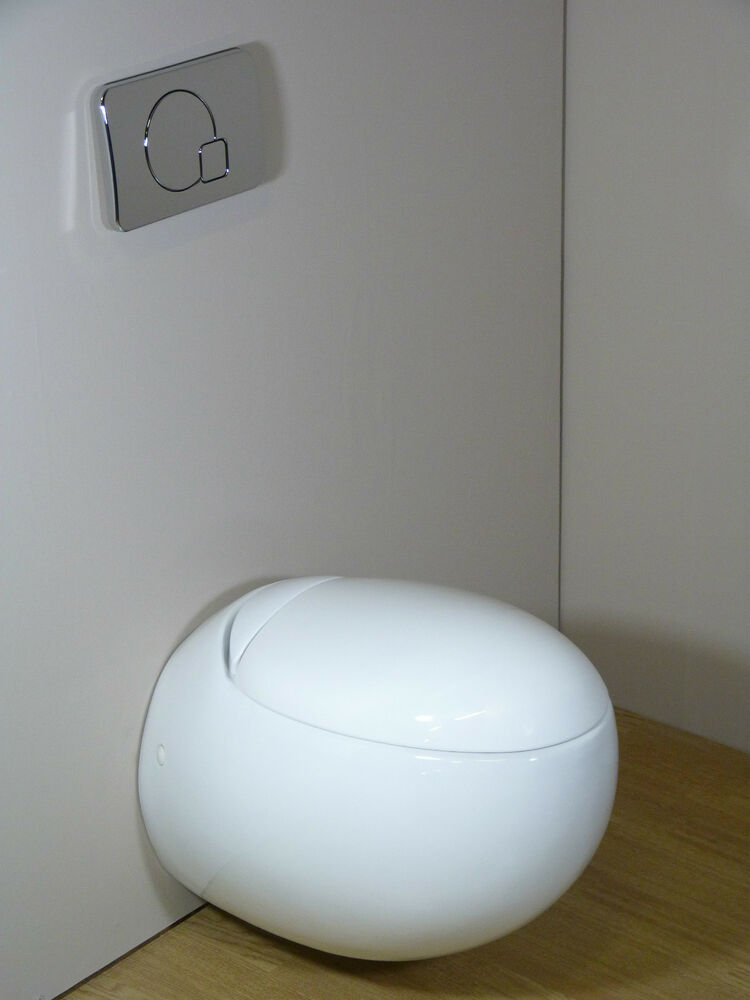 Toilet WC Bathroom Wall Hung Mounted Egg Pod Ceramic White Soft Close Seat Co