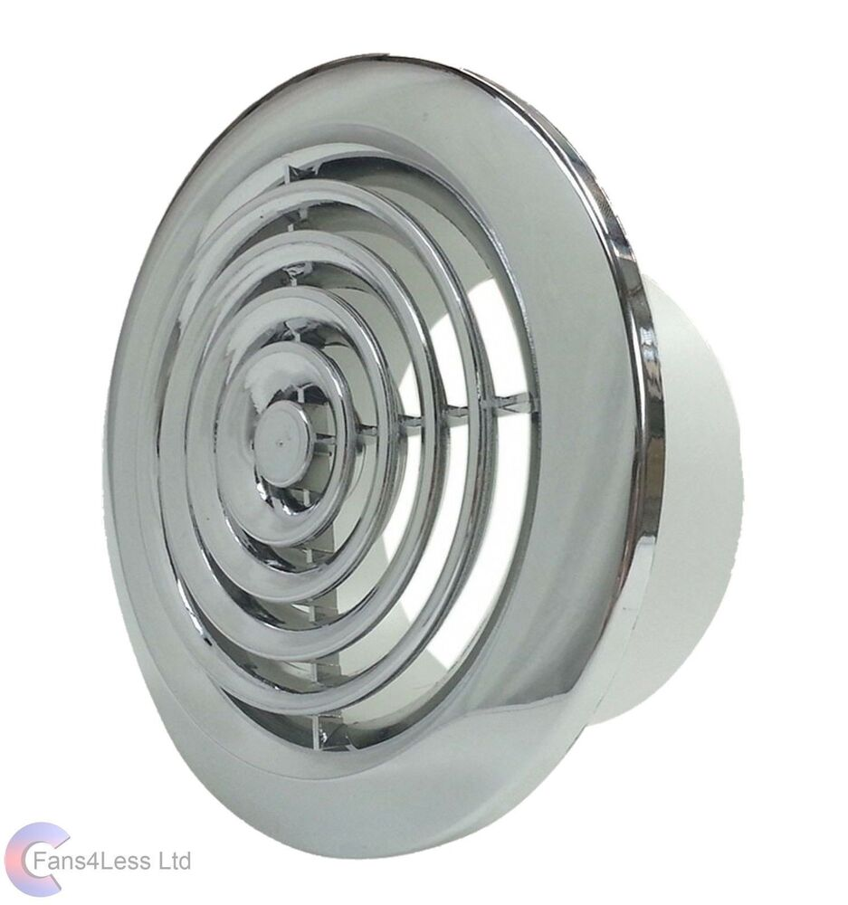 Internal ventilation grille round chrome 4 100mm duct for 6 bathroom extractor fan