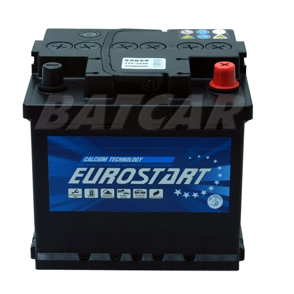 eurostart 12v 50ah 470a en autobatterie starterbatterie. Black Bedroom Furniture Sets. Home Design Ideas