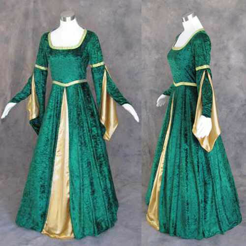Renaissance Wedding Dresses Plus Size: Medieval Renaissance Green Gold Gown Dress Costume LOTR