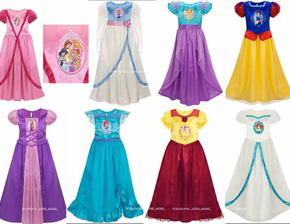 Disney Princess Cinderella Wedding Dress Up Games : Disney all princess deluxe nightgown silky fancy costume
