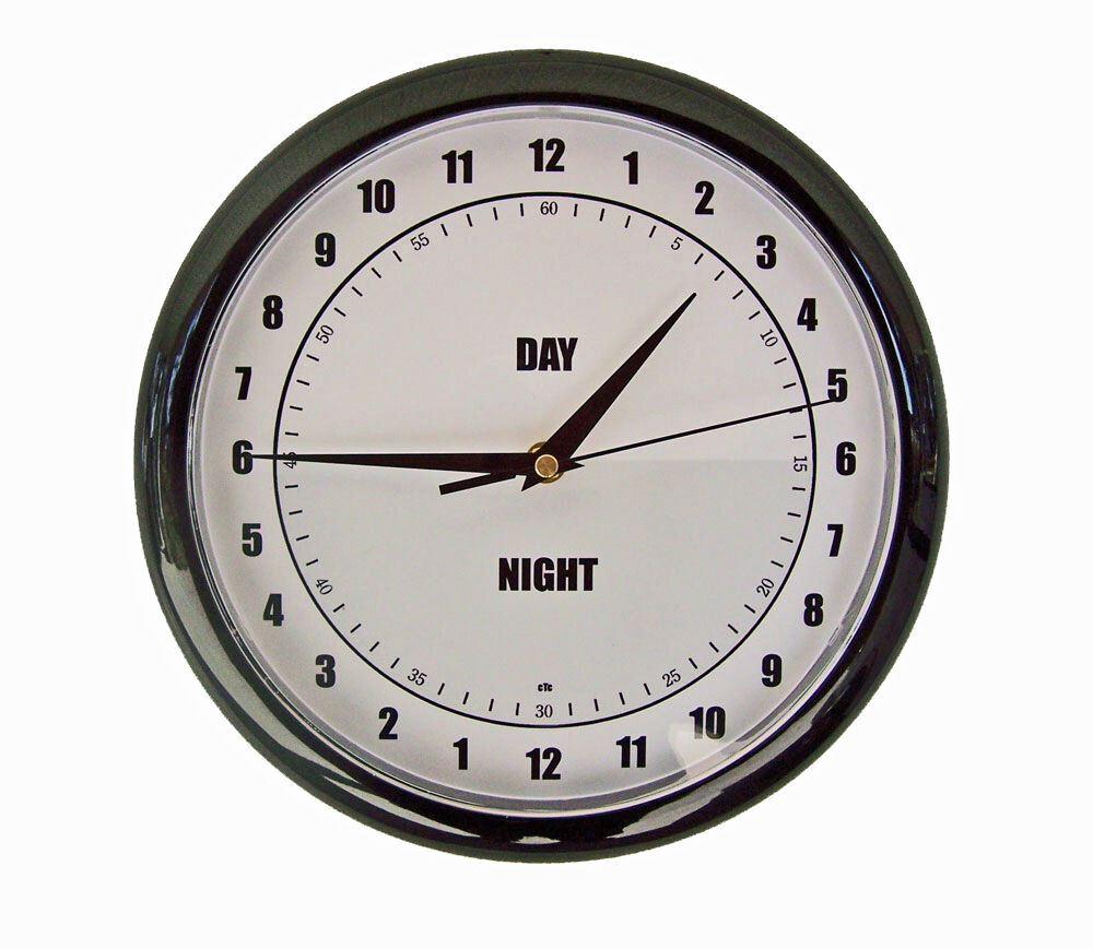 new 10 day night 24 hour easy to read wall clock ebay. Black Bedroom Furniture Sets. Home Design Ideas