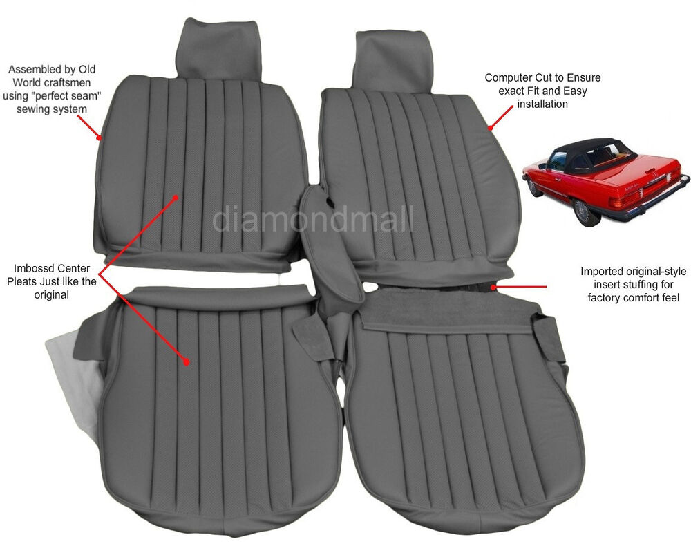 Mercedes benz r107 leather seat covers 450sl 380sl 560sl for Seat covers mercedes benz