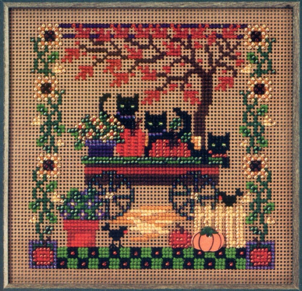 scaredy cats beaded cross stitch kit mill hill 2005
