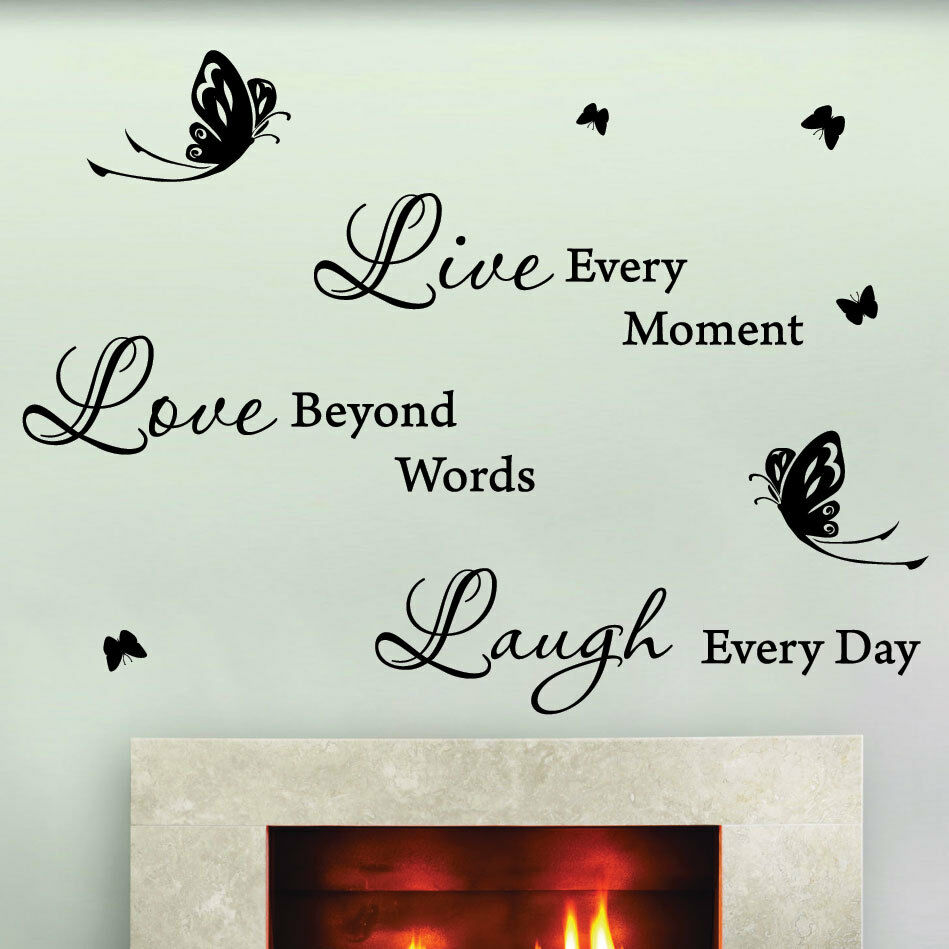 Live love butterfly art wall quotes wall stickers wall for Wall mural quotes