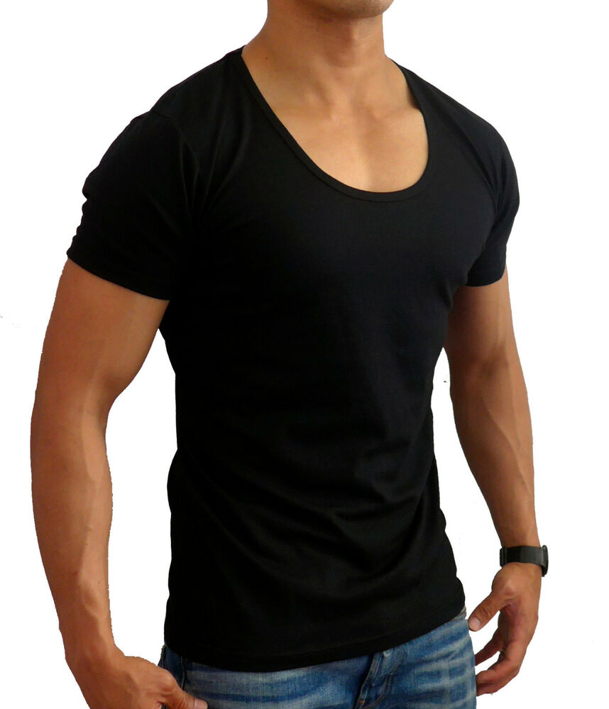 mens plain black fitted deep scoop neck t shirt fashion s. Black Bedroom Furniture Sets. Home Design Ideas