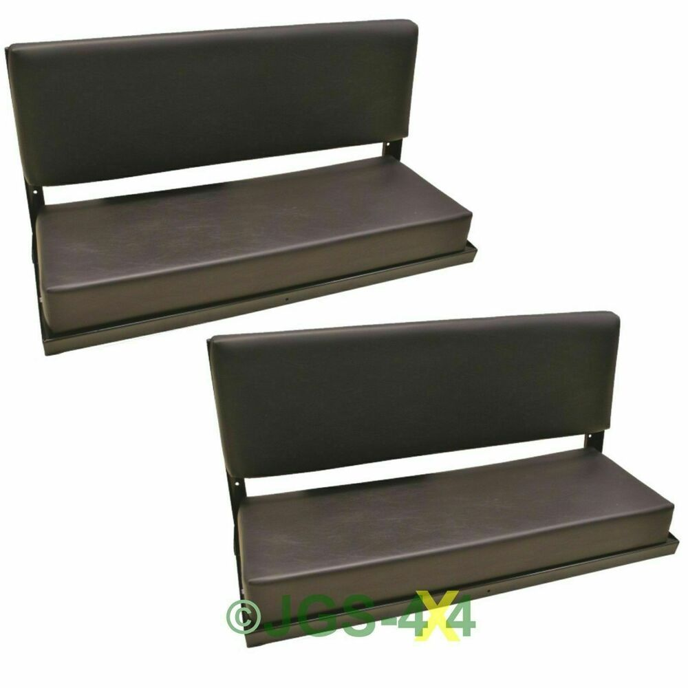 Rear Bench Seat Defender Series County Black Vinyl Folding C W Fittings X2 Pair Ebay