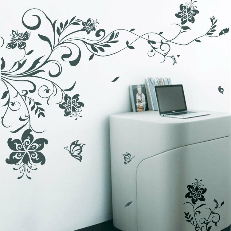 large vine flowers butterfly tree art wall stickers wall christmas wall stickers xmas shop window stickers xmas
