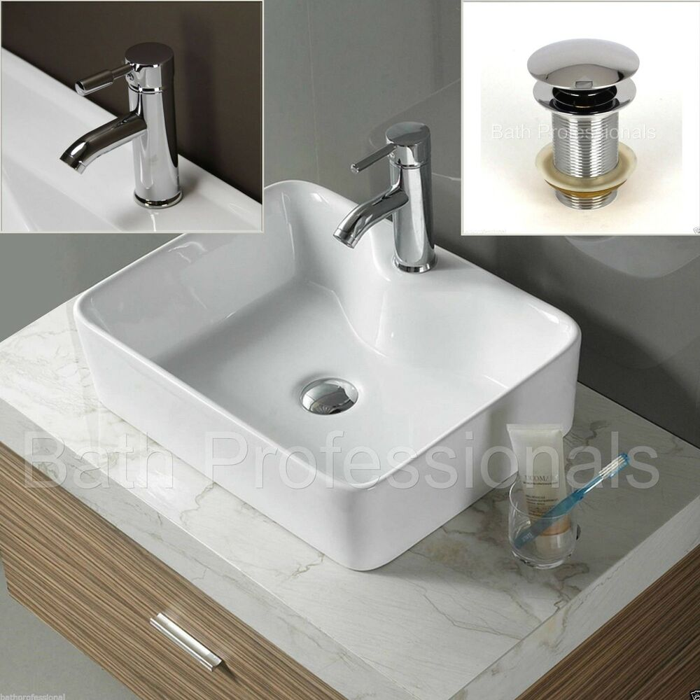 Basin Sink Bathroom Ceramic Countertop Square Cloakroom Corner Tap ...