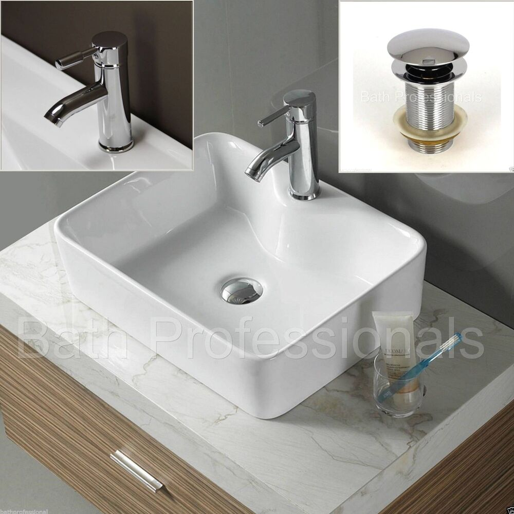basin sink ceramic countertop bathroom square cloakroom corner tap waste cb333kl ebay