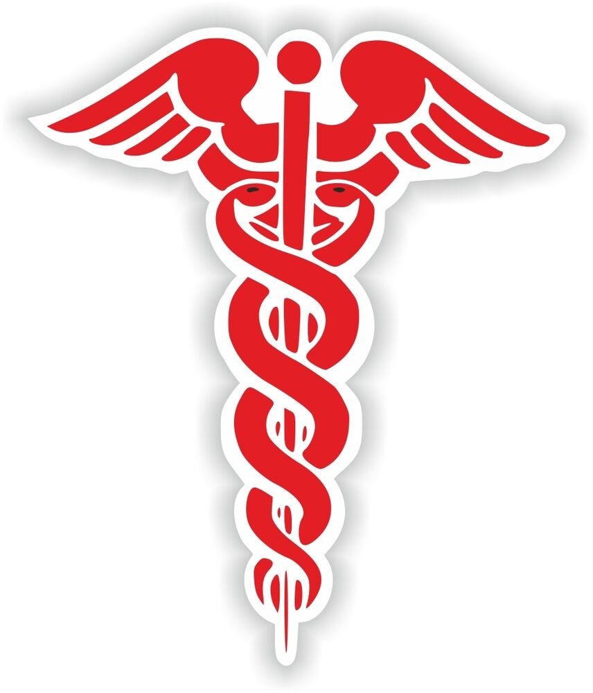 Caduceus Sticker Medical Pharmacy Symbol Vinyl Decal Snakes Sword ...