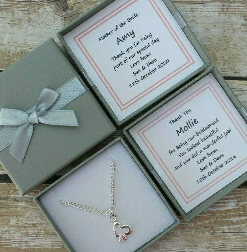 Wedding Keepsake Gifts Uk : BRIDESMAID HEARTS NECKLACE PERSONALISED GIFT BOX FLOWER GIRL THANK YOU ...