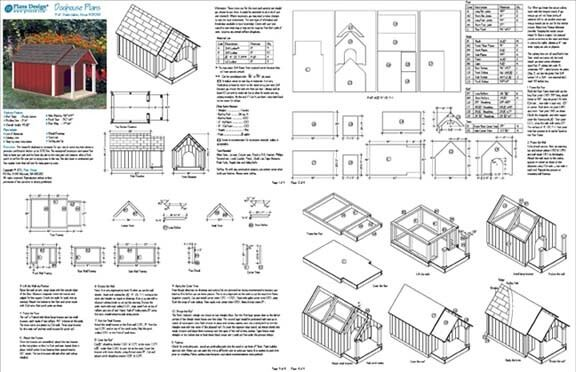 Dog house pet kennel plans gable roof style with porch for Dog kennel building plans
