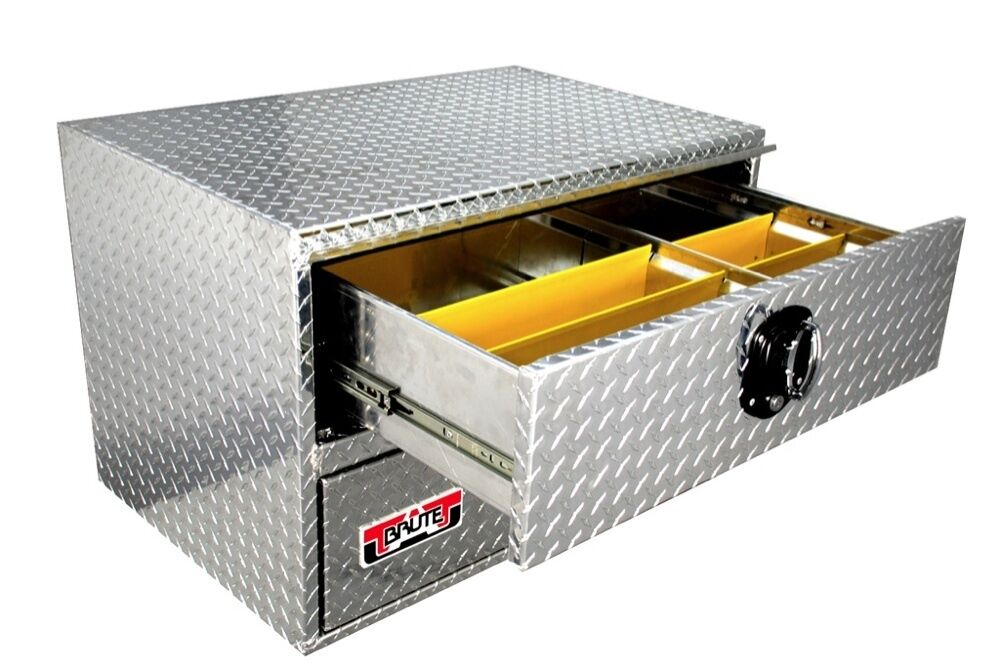 Truck tool box hd jumbo 24x24x24 underbody toolbox two drawers flat bed too ebay - Truck bed boxes drawer ...