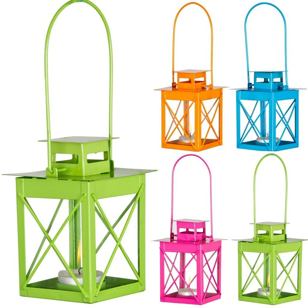 Hanging outdoor candle lanterns for patio - Colourful Outdoor Garden Hanging Metal Candle Lantern