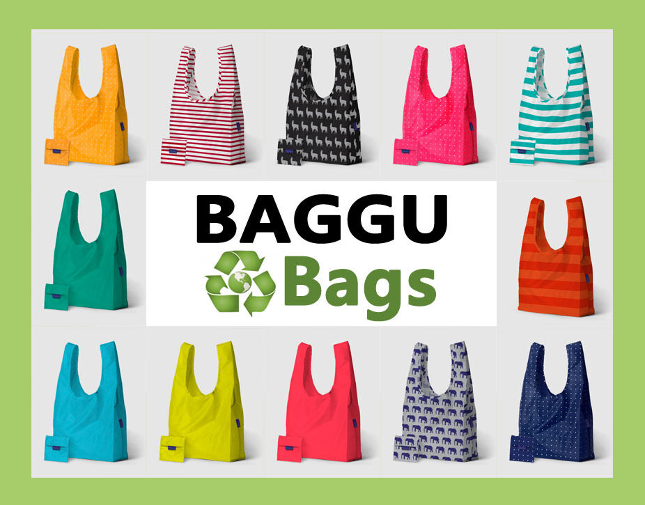 baggu reusable eco shopping bags standard size grocery beach travel nylon bags ebay. Black Bedroom Furniture Sets. Home Design Ideas
