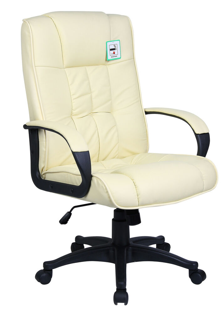 cream office chair cream padded pu leather executive swivel office chair 13617 | s l1000