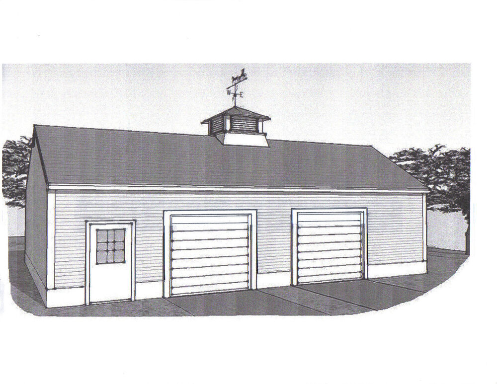 36 x 28 oversized two stall car garage building plans for How big is a two car garage