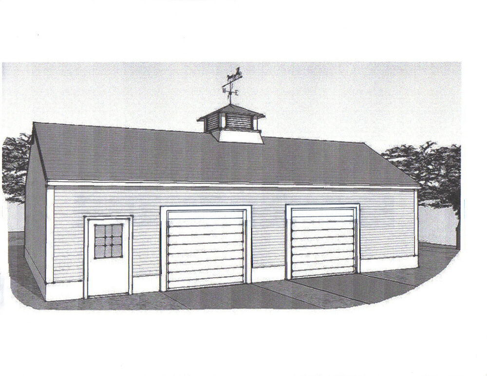 36 x 28 oversized two stall car garage building plans for Large garage plans