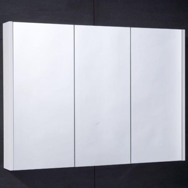 mirrored bathroom cabinet wall mounted hung 3 door shelves triple