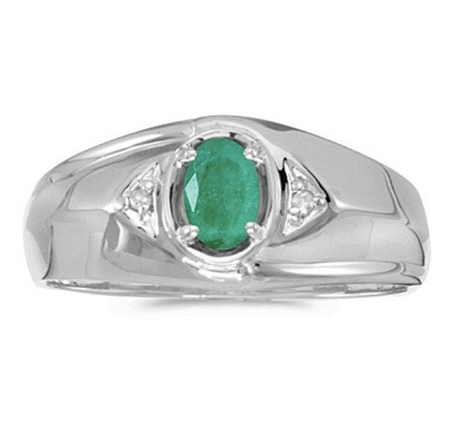 mens natural emerald and diamond ring 10k white gold ebay. Black Bedroom Furniture Sets. Home Design Ideas