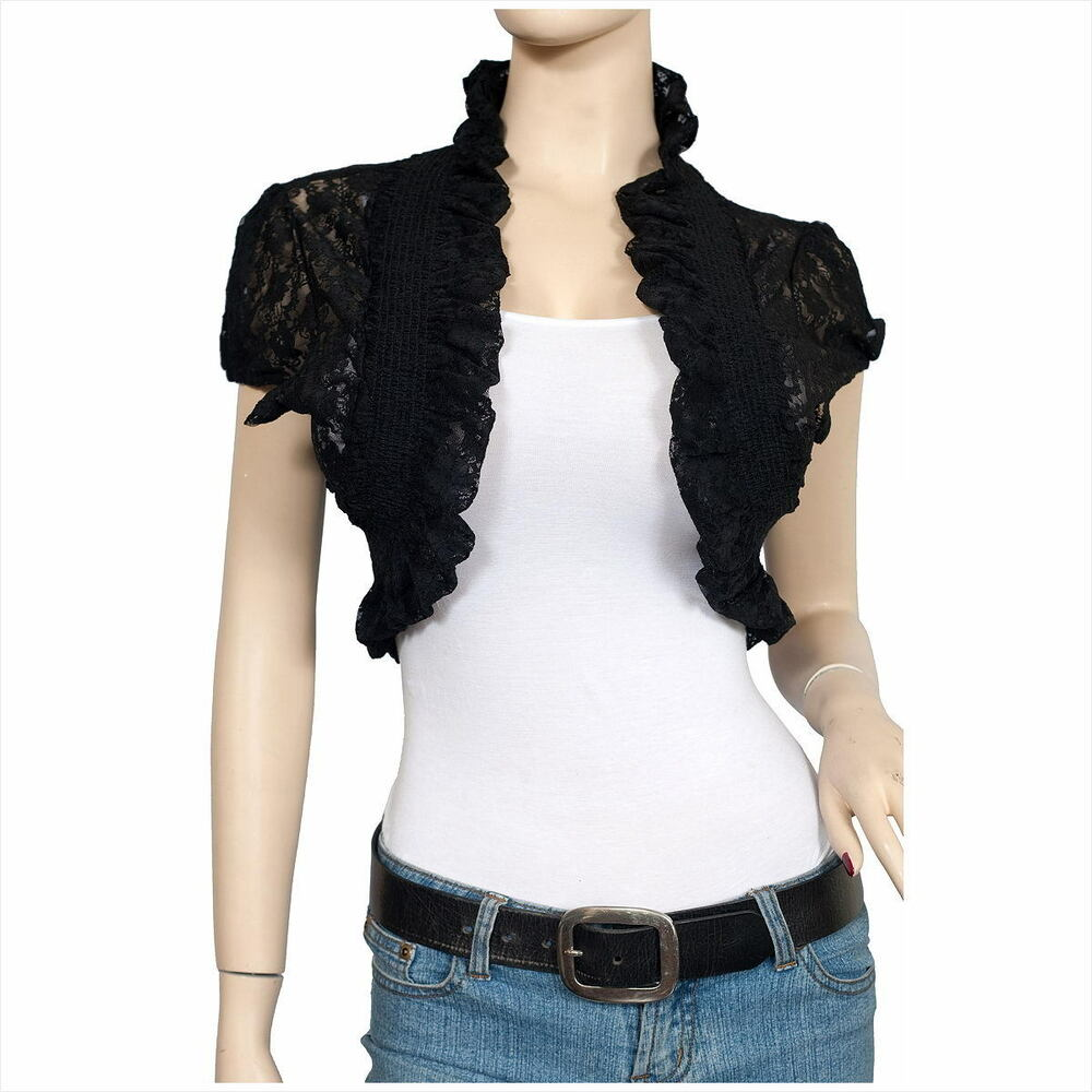 LACE BOLERO SHRUG OPEN CROPPED CARDIGAN SHORT SLEEVE | eBay