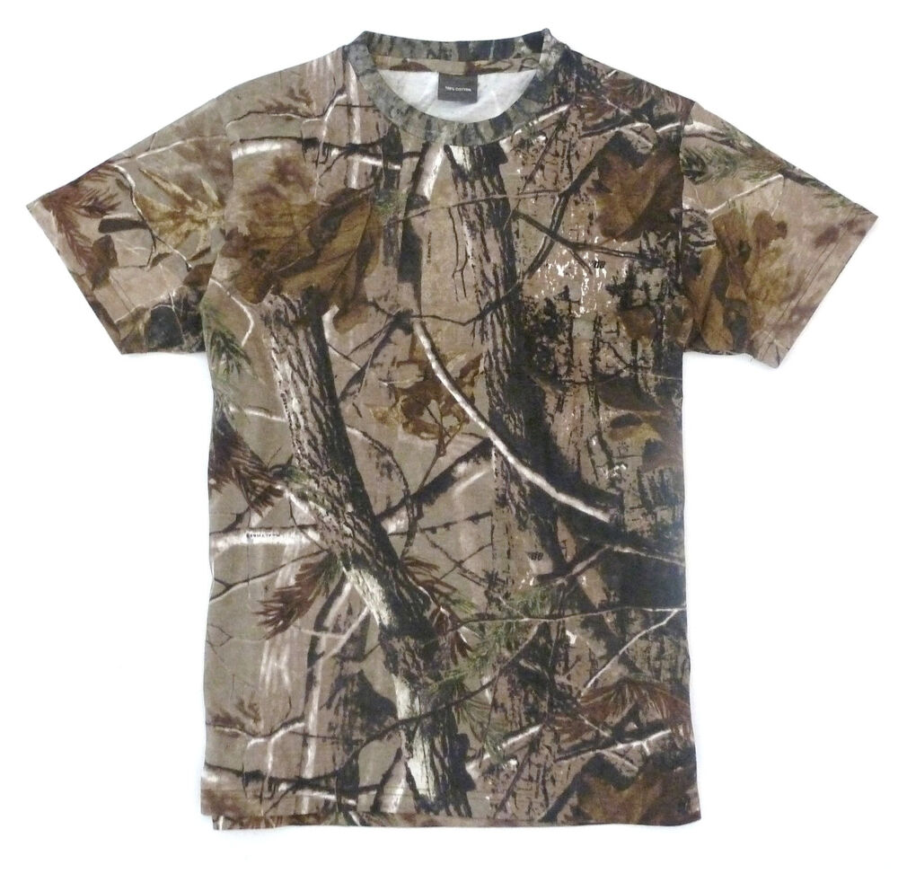 Hunters t shirt mens s xxl oak tree camo tee cotton for Camo fishing shirt