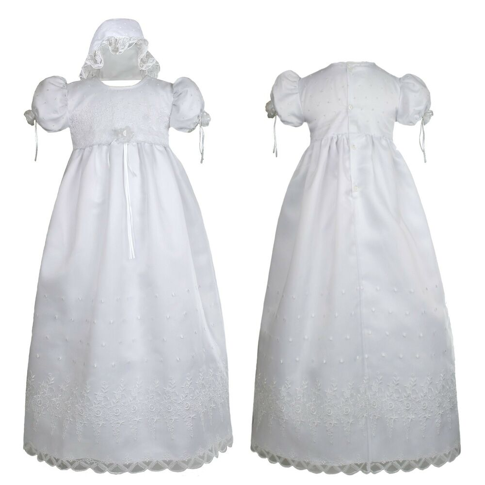 Infant baby girl christening baptism church dress gown for Making baptism dress from wedding gown