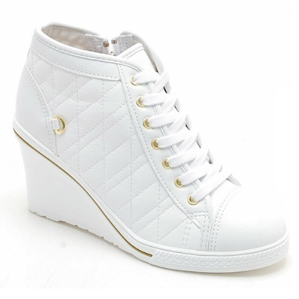 Epicsnob Womens Shoes Canvas Simple Lace Up Wedge High Top ...