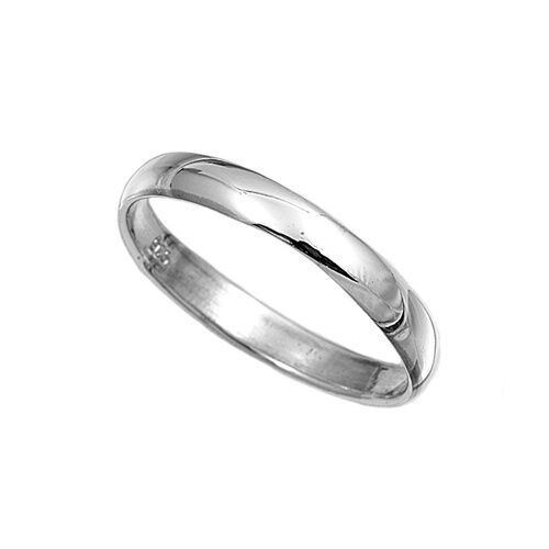 .925 Sterling Silver Ring Plain 3mm Wedding Band Jewelry