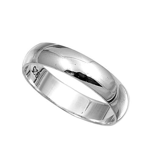 .925 Sterling Silver Ring Plain 5mm Wedding Band Jewelry